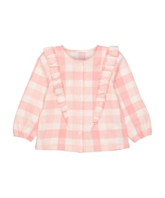 Mothercare Go West Pink Gingham Frill Long Sleeve Blouse