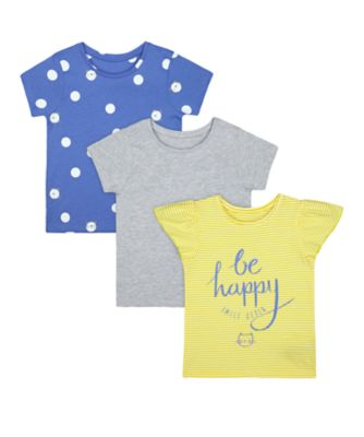 Mothercare Navy Pop Stripe, Polka Dot, And Grey Short Sleeve T-Shirt