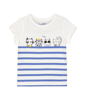 Mothercare Navy Pop Striped And Cats Short Sleeve T-Shirt