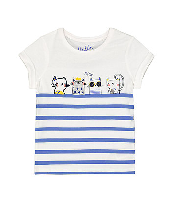 Mothercare Fashion Striped Cat T-Shirt