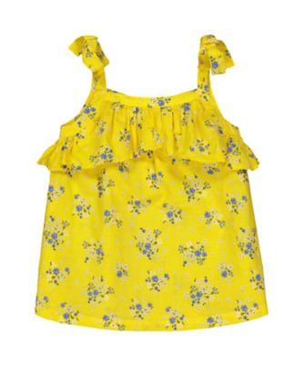 Mothercare Navy Pop Yellow Ditsy Strappy Blouse with Frill