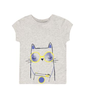 Mothercare Navy Pop Grey Marl Cat Short Sleeve T-Shirt