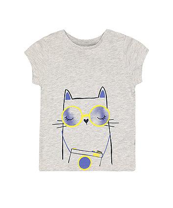 Mothercare Fashion Grey Marl Cat T-Shirt