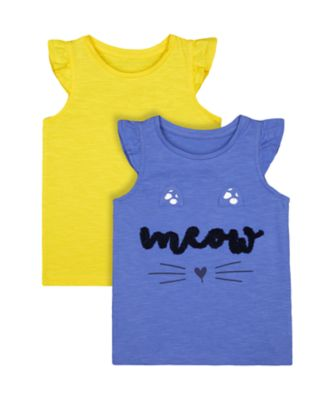 Mothercare Navy Pop Yellow And Blue Meow Vests - 2 Pack