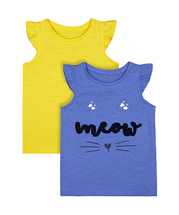 Mothercare Fashion Blue And Yellow Meow Vest T-Shirts - 2 Pack