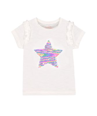 Mothercare Fairytale White Sequin Star Short Sleeve T-Shirt