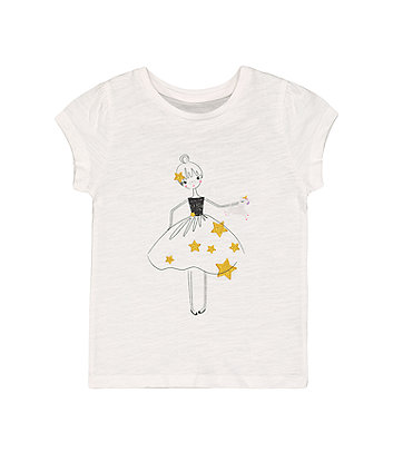 Mothercare Fashion White Sparkly Ballerina And Unicorn T-Shirt