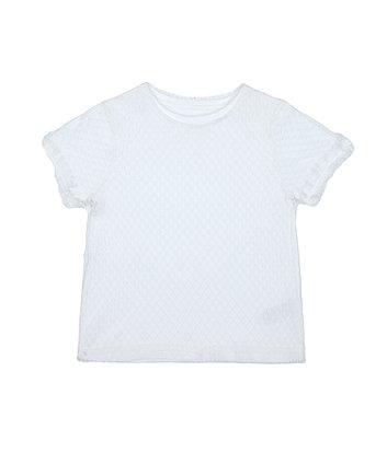 Mothercare Fashion White Mesh-Spot T-Shirt