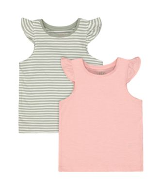 Mothercare Fairytale Stripe And Pink Marl Vests - 2 Pack