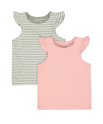 Mothercare Fashion Pink And Stripe Vest T-Shirts - 2 Pack