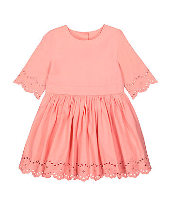 Mothercare Pink Broderie Hem Dress