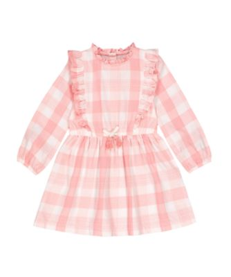 Mothercare Go West Pink Gingham Frill Long Sleeve Dress