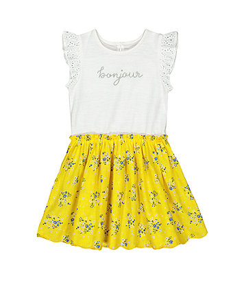 Mothercare Yellow Ditsy Floral Twofer Dress