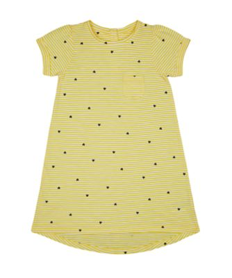 Mothercare Navy Pop Yellow Striped With Heart Short Sleeve Jersey Dress