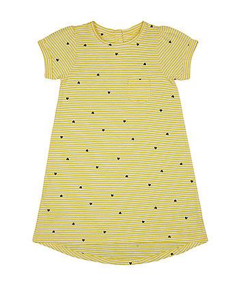 Mothercare Yellow Stripe Heart Dress
