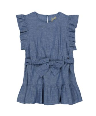 Mothercare Navy Pop Blue Chambray Short Sleeve Dress with Frill and Belt