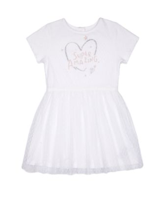 Mothercare Fairytale White Spot Mesh Short Sleeve Dress