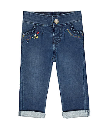 Mothercare Frill-Pocket Jeans - Mid-Wash