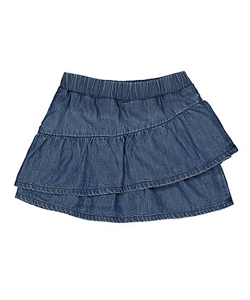 Mothercare Blue Chambray Tiered Skirt