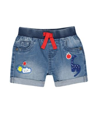 Mothercare Red Alert Mid Wash Denim Appliqu� Ribbed-Waist Shorts
