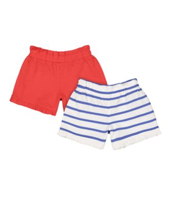 Mothercare Red Alert Striped And Red Shorts - 2 Pack
