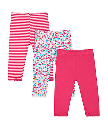 Mothercare Pink, Striped And Floral Print Leggings - 3 Pack