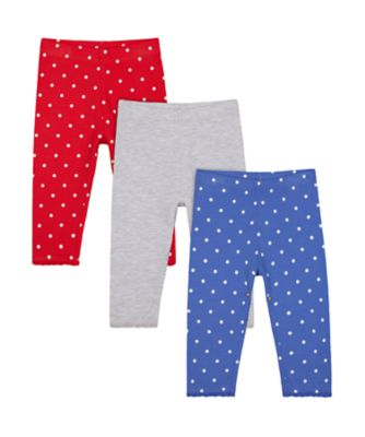 Mothercare Red Alert Red, Grey And Blue Leggings - 3 Pack