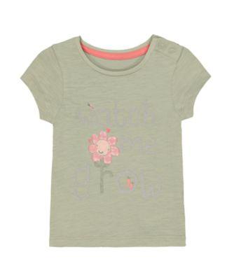 Mothercare Soft Energy Green Glitter Flower Watch Me Grow Short Sleeve T-Shirt
