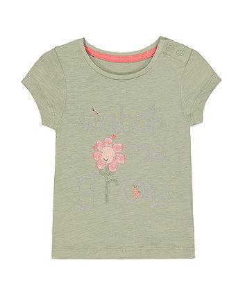 Mothercare Green Glitter Flower Watch Me Grow T-Shirt