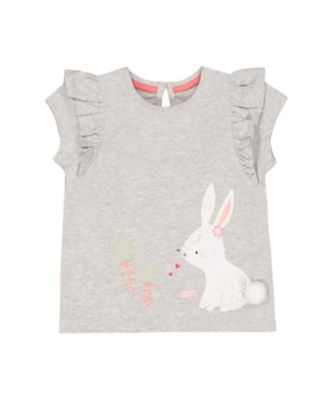 Mothercare Soft Energy Grey Glitter Bunny And Carrots Short Sleeve T-Shirt