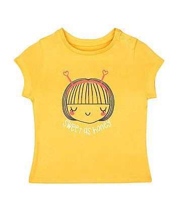 Mothercare Mustard-Yellow Sweet As Honey T-Shirt