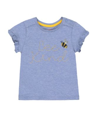Mothercare Midwest Blue Bee Kind Embroidered Short Sleeve T-Shirt