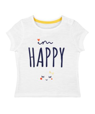 Mothercare Midwest White Happy Short Sleeve T-Shirt