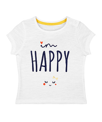 Mothercare White Happy T-Shirt
