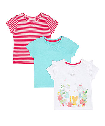 Mothercare Green, Pink-Stripe And White Glitter-Print T-Shirts - 3 Pack