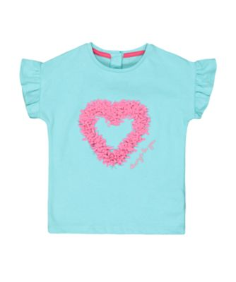 Mothercare Flower Garden Green Heart Short Sleeve T-Shirt