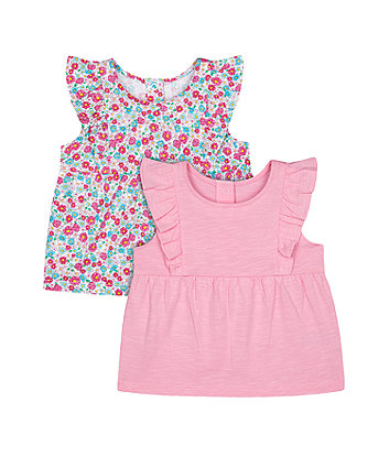 Mothercare Fashion Pink And Ditsy Floral Sleeveless T-Shirts - 2 Pack