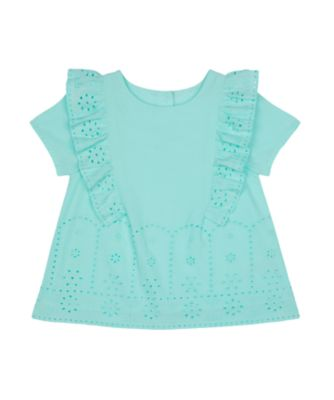 Mothercare Flower Garden Turquoise Broderie Woven Blouse