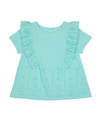 Mothercare Turquoise Broderie Blouse