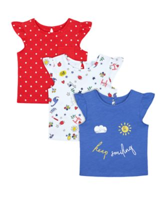 Mothercare Red Alert Colourful Keep Smiling Print Short Sleeve T-Shirts - 3 Pack