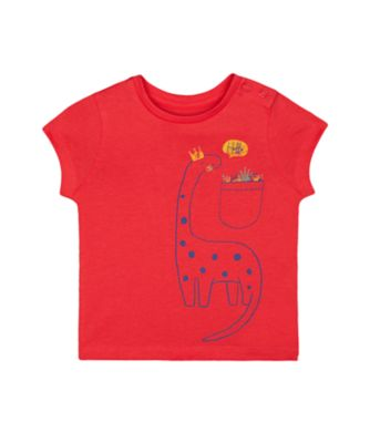 Mothercare Red Alert Red Dinosaur Short Sleeve T-Shirt