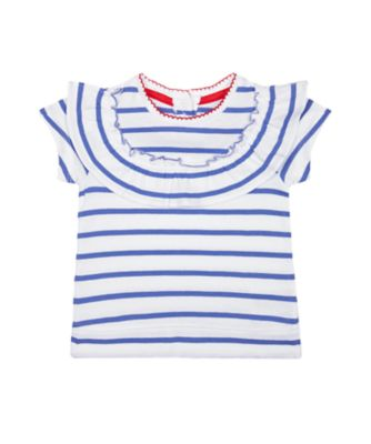 Mothercare Red Alert Blue Striped Frill Short Sleeve T-Shirt