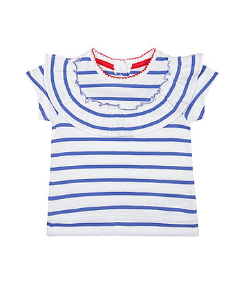 Mothercare Blue Striped Frill T-Shirt