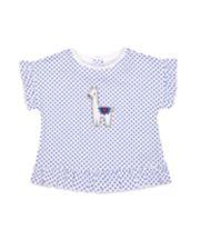 Mothercare White And Blue Spot Llama Frill T-Shirt