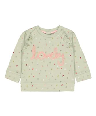 Mothercare Soft Energy Green Lovely Spring-Garden Print Sweat Top