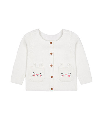 Mothercare White Character Pocket Cardigan