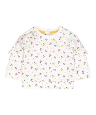 Mothercare Midwest White Floral Frill Sweat Top