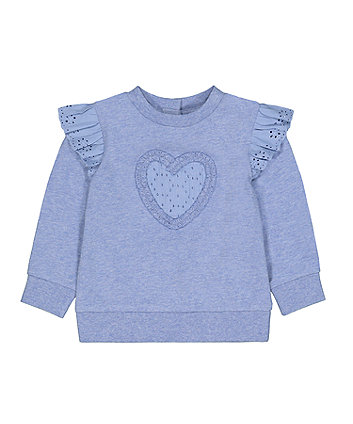 Mothercare Blue Marl Broderie-Anglaise Heart Sweat Top