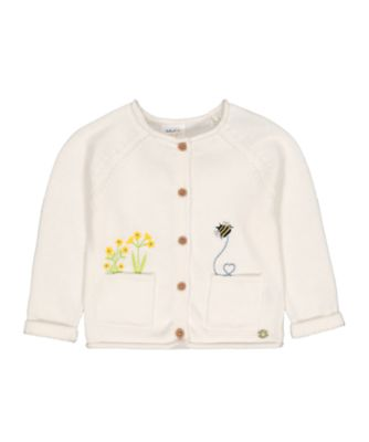 Mothercare Midwest White Flower Bee Knitted Cardigan