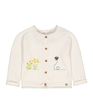Mothercare White Flower Bee Knitted Cardigan